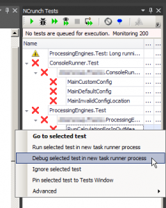Debugging unit tests using NCrunch